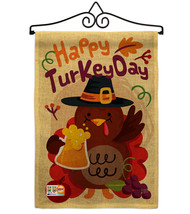 Happy Turkey Day Burlap - Impressions Decorative Metal Wall Hanger Garde... - $33.97