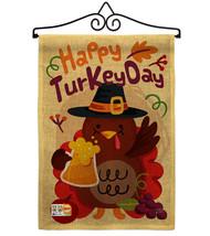 Happy Turkey Day Burlap - Impressions Decorative Metal Wall Hanger Garde... - $33.97