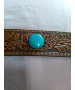 Tooled leather & turquoise bracelet pre-owned - $12.00