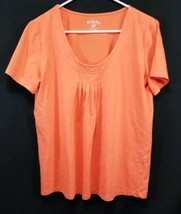 Riders By Lee Women's Size Large L Short Sleeve Orange T-Shirt Pleaded Front - $14.89