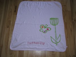 Vintage Baby Gap Butterfly Flower Pink Stripe Cotton Girl Blanket - $39.59