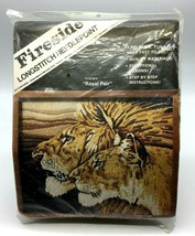 Fireside Longstitch Needlepoint Kit ROYAL PAIR LIONS 16x20 F1-78-2019 1984  - $48.37