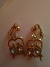 Pink Tourmaline Oct Garnet Jan AVON Heart Clip On Earrings Leaf  Gold Tone - $9.65