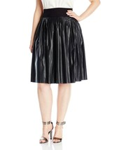 Melissa McCarthy Seven 7 Pleated Faux Leather Skirt 1X 2X Blk w/ Knit Wa... - $29.97