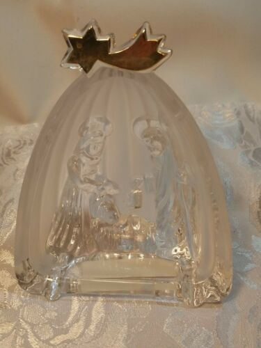 Mikasa Golden Stars Nativity Scene Evita Lead Crystal Frosted Glass Germany