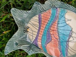 Vintage Myersart Pottery Hand Painted Fish Dish/Shallow Bowl image 2