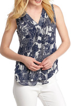 Nwt Tommy Hilfiger Navy White Floral Career Blouse Size L $59 - $23.50