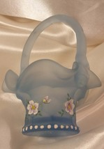 Fenton Glass, Adorable Frosty Blue Basket, Vintage. So precious, so collectible. - $29.99