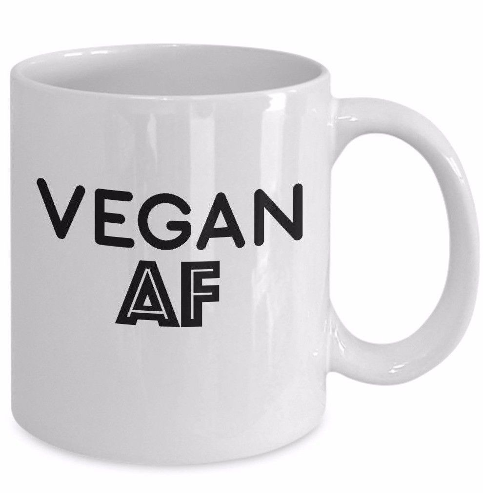 Vegan AF Coffee Mug Ceramic White 11 oz As F*ck As Eff Veganism Gift Tea Cup