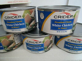 5 Crider Chicken 12.5oz cans fully cooked. Free Corn and Rice!  FAST SHIP - $9.49