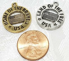 LAND OF THE FREE HOME OF THE BRAVE USA FINE PEWTER PENDANT CHARM 19x22x2mm image 2