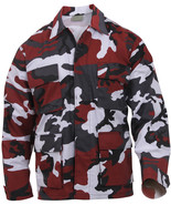 Mens Red Camouflage Military BDU Shirt Tactical Uniform Army Coat Fatigues - $27.99+