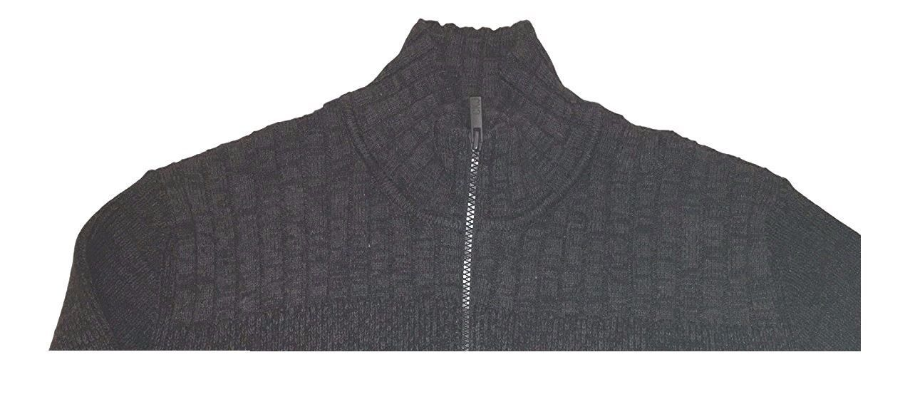 Calvin Klein Jeans Men's Full Zip Cable Ribbed Knit Sweater  Charcoal  Sz M