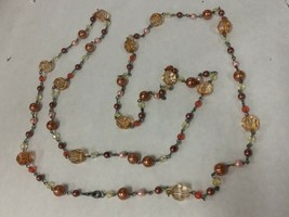 Necklace long red and pink toned valentines beads - $24.74