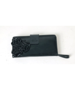Ladies Black Clutch Wristlet Wallet with Rosette Shiny Patent Leather - $13.00