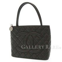 CHANEL Tote Bag Caviar Leather Black Medallion A01804 CC Logo Italy Auth... - $1,353.00