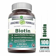 Amazing Formulas Boitin - 5000 MCG, 100 Capsules - Supports Healthy Hair, Skin &