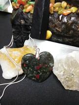 Natural Healing Bloodstone Jasper Pendant Necklace Heart 925 Sliver Chai... - $17.33