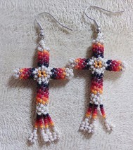 "Native American Cut Glass Beaded CROSS Earrings 2"" Dangle Pearl Cream Ki... - $39.99"