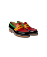 Handmade multi color shoes, Men formal shoes ,Men slip ons Men red black... - $159.97+