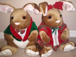 THE VELVETEEN RABBIT  SET Girl & Boy Christmas Holiday Stuffed Plush 199... - $14.84