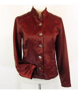 CHICO'S Size 1 (M 6 8) Rust Burgundy Pewter Button Satin Jacket EUC - $22.99
