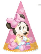 Minnie's 1st Party Favor Cone Hats Birthday Supplies 8 Per Package New - $4.54