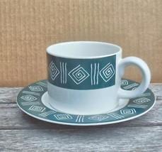 Sakura Cypress Stoneware Flat Cup / Saucer Vintage Dark Green / White - $10.00