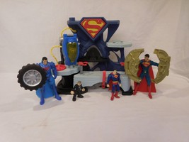 "DC Comics  Superfriends Superman Playset + 6"" Tire Spinning Action Figur... - $26.02"