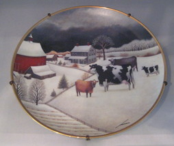COWS in Winter Collectible Plate Franklin Mint Limited Edition Ready 2 Hang - $18.42