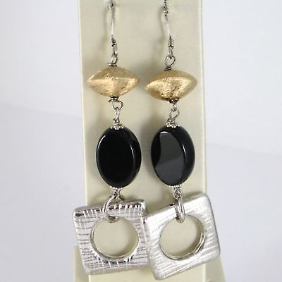 EARRINGS SILVER 925 RHODIUM HANGING WITH ONYX BLACK OVAL GLOSSY
