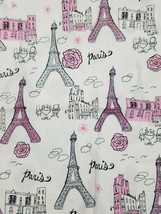 Brothers Sister Design Studio Paris Glitter Cotton Fabric 3/4 Yard Remnant - $12.74