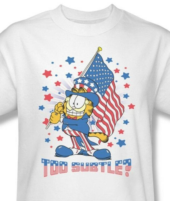 Garfield American Flag T-shirt retro classic cartoon white cotton tee Gar484