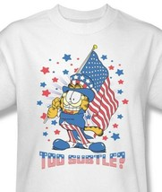 Garfield American Flag T-shirt retro classic cartoon white cotton tee Gar484 image 1