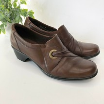 Clarks Bendables Brown Leather Slip On Heeled Comfort Shoes Women Size 9 - $24.75