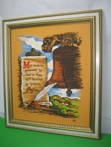 Textile Cloth Hand Stitched Liberty Bell Picture Wood Frame Signed - $28.01