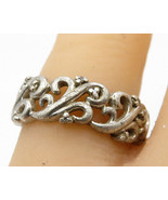 925 Sterling Silver - Vintage Minimalist Swirl Decor Band Ring Sz 6 - R5399 - $38.14