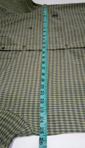 Patagonia Men's Green L short-sleeve button-down plaid Breast Pocket shirt image 7