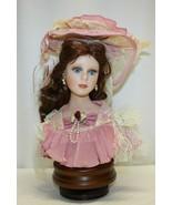 Seymour Mann Porcelain Doll Head Rotates Musical Wooden Base - $29.69