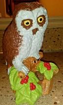 """Vintage Chalkware Owl Figurine Tree Stump Berries 9"""" - $24.74"""