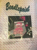 """Teddy Bear 10"""" COUNTED SEED BEAD Canvas HOLIDAY STOCKING Kit New Sealed - $23.36"""