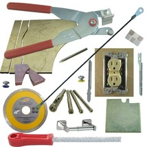 Tile & Glass Cutter Kit Red LH Curve Outlet Jigsaws Rodsaw Grinder 5 Dri... - $83.22