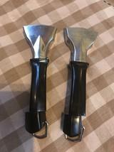 2 Vtg Corning Ware Twist Lock Detachable Black Handles Pot Pan Skillet Casserole - $9.89
