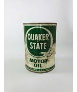 Vintage 1 Quart Metal Quaker State Motor Oil Can Full ~ 40w - $9.90