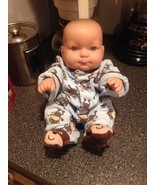 """Rubber 14"""" Jointed Baby Doll Blue Eyes Wearing Little Monkey Footed Paja... - $34.99"""