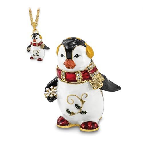 Bejeweled Crystal Enameled Winter Penguin Trinket Box