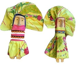 Wooden Carved Doll Pair Handmade Figure Yellow Floral Dress Nose Ring Se... - $16.19