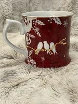 STARBUCKS Coffee Mug Red Gold Birds by Rosanna 2010 Christmas Holiday 12oz - $18.71