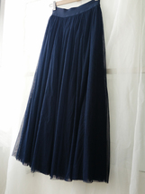 NAVY BLUE Elastic Waist Tulle Maxi Skirt Navy Wedding Bridesmaid Skirts Floor image 4