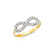 14K Solid Gold Cubic Zirconia Infinity Fancy Ring - £84.21 GBP